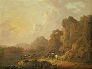 Mountain Landscape with Travellers on a Lakeside Path