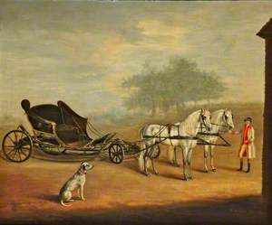 A Phaeton Drawn by a Pair of Ponies with a Groom