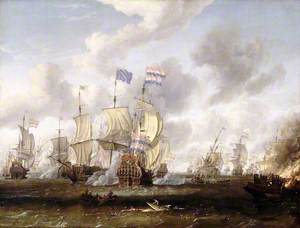 The 'Goulden Leeuw' Engaging 'Royal Prince' at the Battle of the Texel, 11 August 1673
