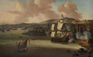 An English Two-Decker Attacking a Barbary Port, c.1675