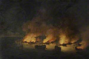The Burning of the Turkish Fleet in Chesme Bay, 7 July 1770