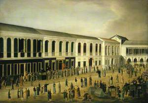 Trial of Four British Seamen at Canton, 1 October 1807: Scene Outside the Court