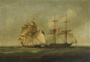 HMS 'Sappho' Capturing the Danish Brig 'Admiral Jawl', 2 March 1808: Surrender of the Brig