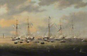 British and American Gunboats in Action on Lake Borgne, 14 December 1814
