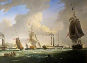 George IV On Board the 'Lightning', the First Post Office Steam Packet to Dublin, 12 August 1821