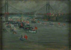 The Peace Pageant River Procession Approaching the Albert Bridge and Battersea Bridge, 4 August 1919