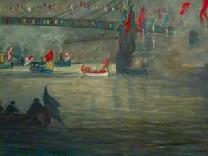 The Peace Pageant River Procession under the Albert Bridge (?), 4 August 1919