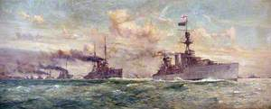 HMS 'Cardiff' Leading the Surrendered German Fleet, 18 November 1918