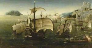 Portuguese Carracks off a Rocky Coast