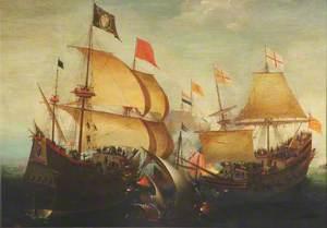 An English and a Dutch Ship Attacking a Spaniard