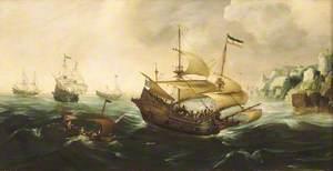 Dutch Ships Sailing off a Rocky Shore