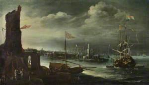 A Dutch Ship at Anchor off Genoa
