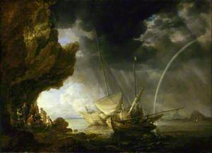 Seascape with Sailors Sheltering from a Rain Storm