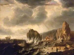 A Ship Wrecked off a Rocky Coast