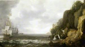 Dutch Ships Revictualling off a Rocky Coast