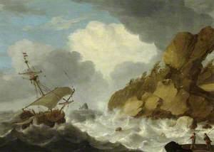 A Dutch Ship Foundering off a Rocky Coast