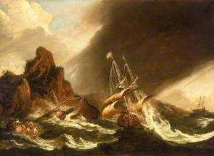 A Ship and a Galley Wrecked on a Rocky Coast