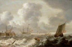 Dutch Ships in a Rough Sea
