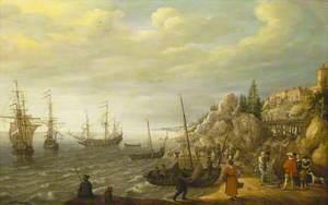 Dutch Ships at Anchor off a Fortified Scandinavian Town