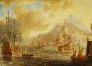 Ships at Anchor off a Mediterranean Harbour