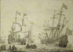 Two Dutch Merchant Ships Under Sail near the Shore in a Moderate Breeze