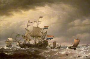 A Dutch Flagship Brought to in a Fresh Breeze