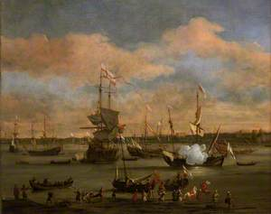 An English Merchant Ship in a Mediterranean Harbour in a Light Breeze with Many Other Vessels