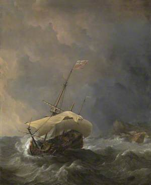 An English Ship in a Gale Trying to Claw off a Lee Shore