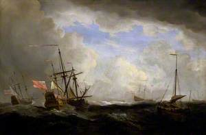 An English Ship and a Hooker at Sea in a Gale with Other Ships
