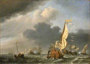 A States Yacht in a Fresh Breeze Running Towards a Group of Dutch Ships
