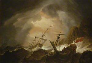 Two English Ships Wrecked in a Storm on a Rocky Coast