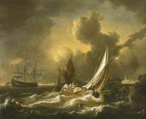 A Fishing Boat and Other Vessels in a Squall