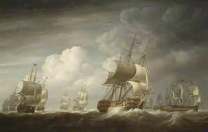 A Fleet of East Indiamen at Sea