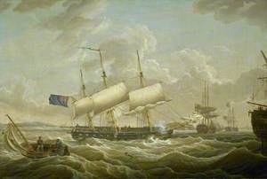 A Frigate Coming to Anchor in the Mersey
