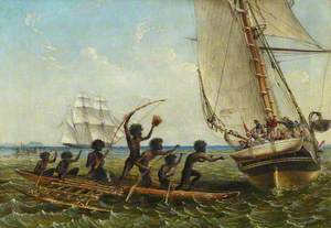Aboriginal Canoes Communicating with the 'Monarch' and the 'Tom Tough', 28 August 1855