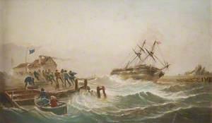 A Danish Brig Driven Ashore