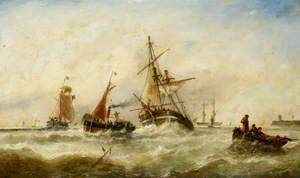 A Damaged Brig Being Towed into Harbour