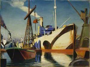 A Curnader Converting to a Merchant Ship