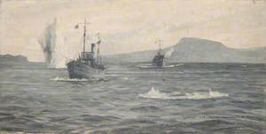 HMS' Lanner' and 'Salvia' under Bomb Attack in Suda Bay, 1941