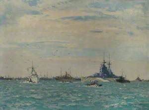 HMS 'Rodney' Steaming through the Anchorage, 6 June 1944