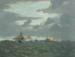 Destroyers Bombing Shore Batteries, 6 June 1944