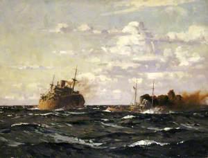 A Rescue Tug Approaching a Steamship