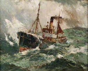 Gale Force 8: Trawler in a Rough Sea