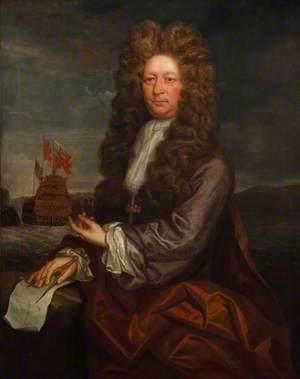Fisher Harding (active 1698–1701), Master Shipwright, with the Launch of the 'Royal Sovereign', 1701