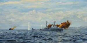 HMS 'Orion' Bombarding a Coast