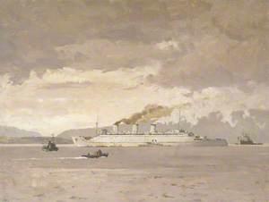 The Passenger Liner 'Queen Mary' Raising Steam