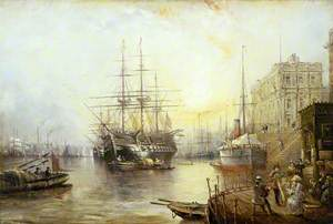 View of Greenwich in 1877 Showing  the Training Ship HMS 'Warspite'