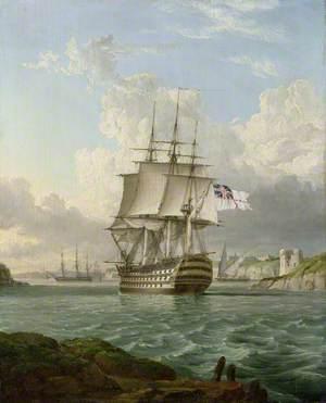 HMS 'Britannia' Leaving a Mediterranean Harbour