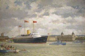 HMY 'Britannia' Arriving at Greenwich, 15 May 1954