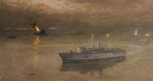 MCMV's at Work off Kuwait City with USS 'Missouri' Bombarding
